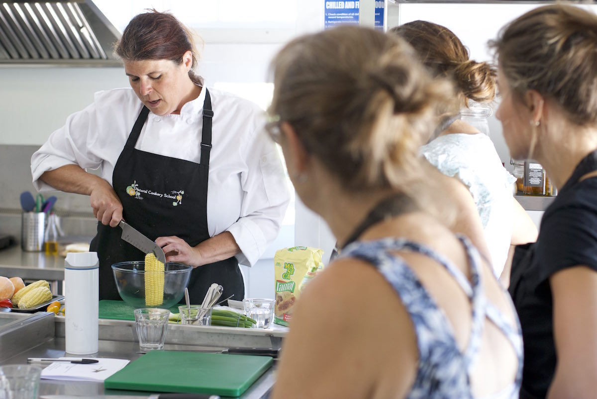 Erin teaching a class at Natural Cookery School